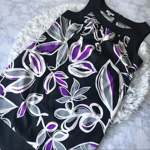 Dressbarn Bold Geometric Floral Shift Dress EUC
